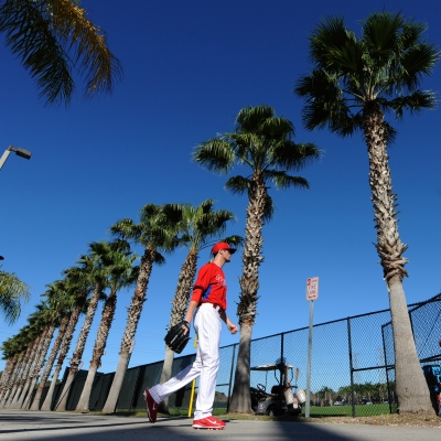 Cole Hamels heads out for workouts Sunday in Clearwater.
