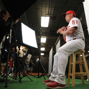 Carlos Ruiz poses during photo day Wednesday in Clearwater.