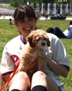 Phillies R U Game? Talent Search Finalist, Jenna Bramble and her dog, Chase Mutley